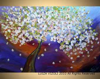 Original Modern Abstract Tree Flowers Landscape Palette Knife Impasto Painting by Luiza Vizoli