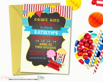 Carnival Birthday Invitation, Circus Birthday Invitation, Carnival Chalkboard Birthday Invitation, Cotton Candy, Carnival Invitation