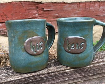 His and Hers or Mr and Mrs personalized pottery mugs - Great wedding or anniversary gift!
