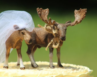 Moose Wedding Cake Topper - Mr & Mrs  Moose- Bride and Groom - Rustic Country Chic Wedding