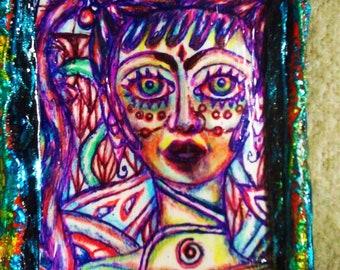 Pierced Warrioress Kindgdom  Colored Pencil Pen Bookmark