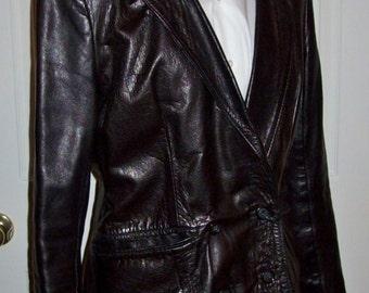 Vintage Ladies GANDALF Black Leather Blazer Jacket Size 15 Mod Only 98 USD