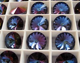 4 Crystal Bermuda Blue Swarovski  Rivoli Stone 1122 12mm