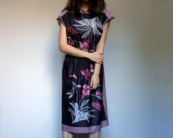 70 Black Sundress Boho Dress Vintage Floral Print Day Dress 1970s Summer Dress - Medium to Large M L