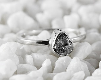 Grey Diamond Ring Promise Ring Engagement Ring Uncut Diamond Ring Sterling Silver Ring Raw Stone Ring Dainty Silver Ring Diamond Ring
