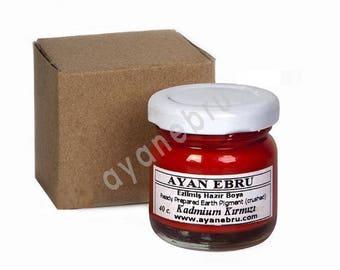 Ebru Marbling Paint Colors-Pigment Red Kadmium 40cc (Ayan)