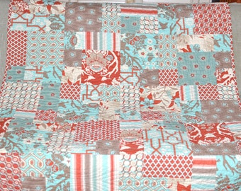 Modern Rustic Lodge Deer Valley Quilt Blanket Bedding Sofa Patchwork Quilt Ready to Ship