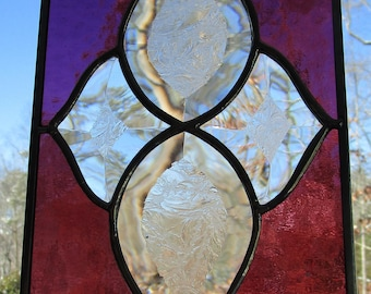 Stained Glass, Panel, Sun Catcher - Beveled Glass -  Hand Crafted - Amethyst