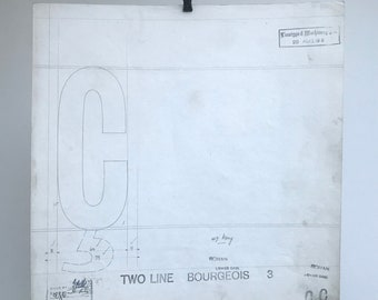 Letter C, 1911 original font casting drawing, typographic drawing. Gift for a graphic designer or typographer.