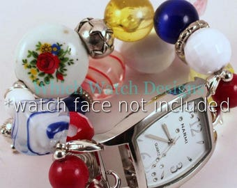 Primarily.. Red, Yellow, Blue and White Interchangeable Beaded Watch Band, Vintage Style