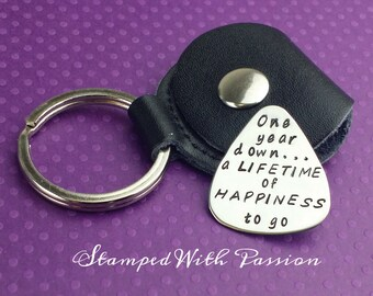 Sale One year anniversary Gift -Personalized guitar pick with Leather Key chain Case - guitar pick - Hand Stamped