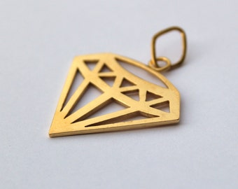 Gold Geometric Diamond Pendant