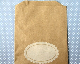 Favor Bags - Scallop Oval Kraft Paper Bags (20) - Midi Size - 7 x 5.5 inches
