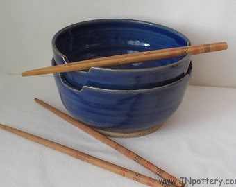 Ceramic Noodle Bowls - Stoneware Chopstick Dishes - Set of Two - Soup Servers - Pair of Rice Bowls - Ready to Ship - Deep Cobalt Blue  b398