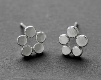 Dainty Flower Silver Stud Earrings, Organic Silver Pebble Earrings