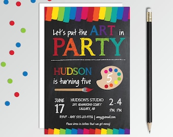 Art Birthday Party Invitation - Painting Party Invitation - Art Party Invitation - Printable Birthday Invitation - Boys Birthday Invitation