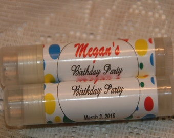 Lip Balm, Birthday Party Favors, Personalized Lip Balm