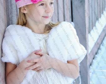 "Beanie Hat Crocheted ""The Oceana"" Hot Pink Pastel Pink Open Weave Beanie Trim Flowers"