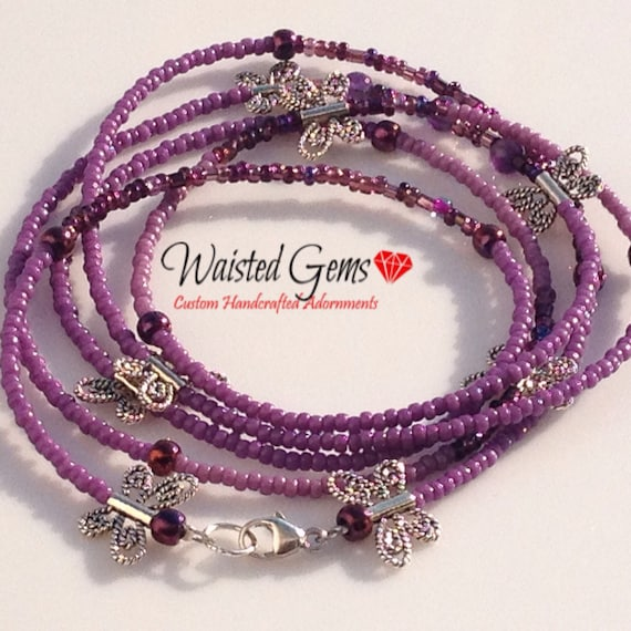 Lupus Sterling Silver Awareness Waist Beads, Purple Waistbeads, Gift Idea, Gifts for her, Mothers Day Gift,  Waist Beads zmw21