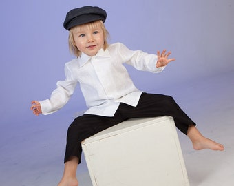 Ring bearer newsboy outfit Baby boy linen suit Rustic wedding boy outfit Baby boy pants shirt newsboy hat Baby boy rustic outfit Photo prop