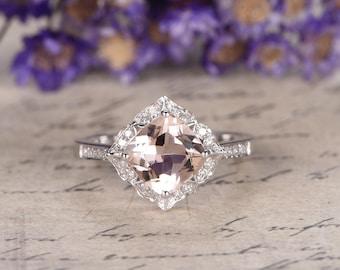 18K White Gold Morganite engagement ring with diamond,Pink Morganite ring,Art Deco bridal ring set,custom made fine jewelry,Prong set