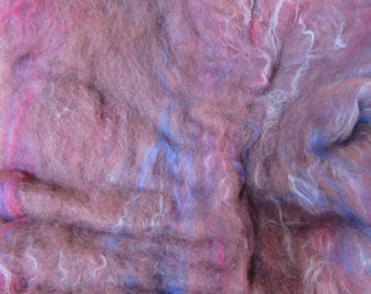 2.0 Oz. Alpaca Handcrafted Carded Batt of Hand Dyed Alpaca - Purple  and Merino Top