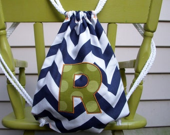 Custom Boy's CHILDRENS Size Navy Chevron Drawstring Backpack With Monogram