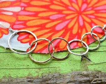 Six We Are Family Rings Necklace 6 Symbolic Infinity Linked Circles Gold Rose Sterling Silver Gift Christmas Mother Grandmother Nana Sister