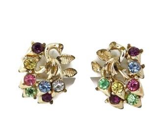 Coro Rhinestone Earrings, Vintage Flower Earrings, Mid Century Jewelry, Clip on Earrings, Pastel Rhinestone Clips, Gift Ideas