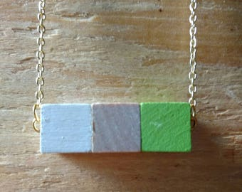 wood cube necklace