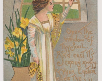 Antique Easter Postcard by HBG (Griggs), Printed in Germany L & E Series 2254, Lady And Daffodils, Ephemera