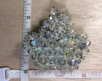 Vintage Silver Toned Aurora Borealis Beaded Pin Brooch Used