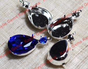 18x13 Tear Drop Pear Prong Setting Rhinestone SS20 Dual Jewel Mounting Close Back Case Oxidized Antique Brass - 4 pcs