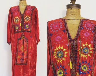 Red Velvet 1960's/70's Hand Embroidered Caftan Moroccan or Indian made