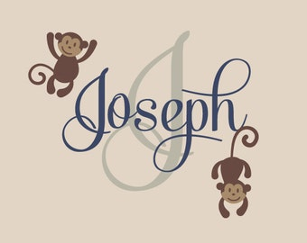 Monkey Name Wall Decal, Safari Vinyl Decals, Nursery Wall Decal, Childrens Monkey Name Decal