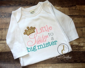 Little Sister Shirt - Little Sister Outfit, Little Sister Gown, Little Sister Big Brother, Baby Girl Coming Home Outfit, Sibling Outfits
