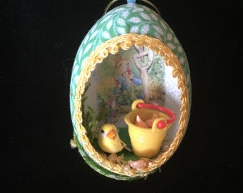 Real  Egg Ornament w Bird and Bucket of Carrots