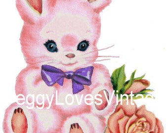 Pink Bunny with Purple Bow Digital Image from Vintage Greeting Cards - Instant Download