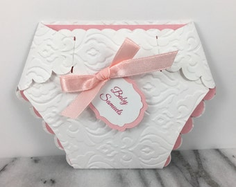 Invitation, Lace and Ribbon Diaper, Set of 10 Customized Baby Shower Party Invite, Pick your Colors and Personalization