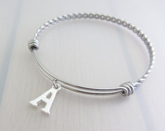 Letter Charm Stainless Steel Bangle, Custom Initial Charm Bangle, Personalised Silver Letter Bracelet, Adjustable Bangle, Alphabet Name Gift