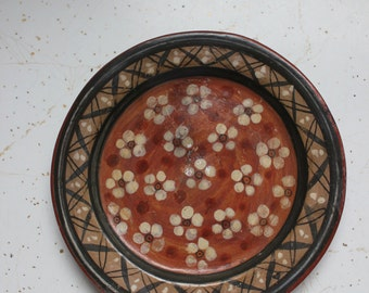 Vintage Artist One of a Kind Mexican Pottery Small Plate Hanging Art Piece