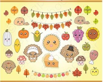 Kawaii Thanksgiving | Fall theme clipart, digital scrapbook elements - 35 Clip art, Instant Download