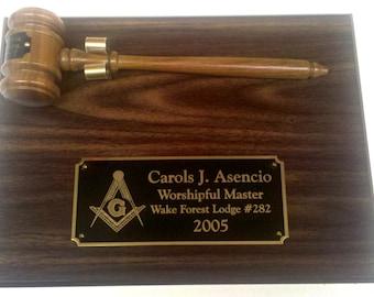 Masonic Walnut Finish Personalized 9 x 12 Gavel and Plaque