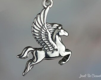 Sterling Silver Winged Horse Pegasus Charm Fantasy Mythology Solid 925