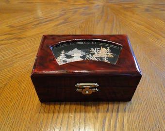 Vintage Asian Trinket Box, Wood Oriental Shadow Box Scene Dresser Box, Ring Holder, Jewelry Storage