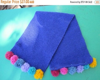 ON SALE Childs Blue Hand Knitted Scarf with colourful Pom Poms