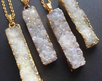 Druzy necklace Bar AB Druzy Natural druzy pendant Druzy rectangle White druzy Agate