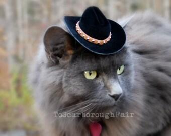 Chat chapeau - la brique Cowboy chat furet, cochon d'Inde petit chien chapeau de cowboy avec bande en daim clouté