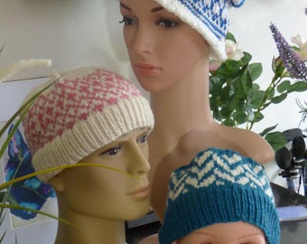 Pink and White Woolen Beanie Hat