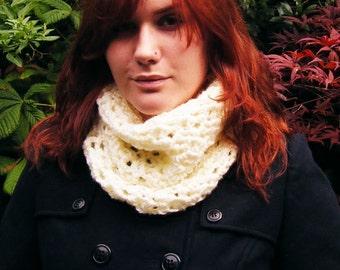 White Chunky Cowl Crochet Neckwarmer Scarf